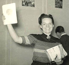 Myrtle Douglas with a new issue of Voice of the Imagi-Nation 1940