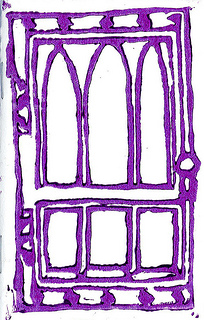 Image of Abstract Door #1 cover; door based on Swift Hall at University of Chicago.